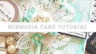 Mixed Media Card Tutorial With Handmade Flowers|Dadarkar Arts| Uma Didwania