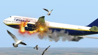 Giant Boeing 747 Hit Birds During Take Off And Emergency Landing in A Field   X-Plane 11 (HD)