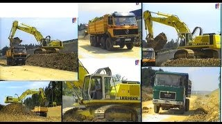 preview picture of video 'LIEBHERR R964 & MAN F8, MB Dump Trucks / Fa. Kirchhoff A8 Karlsbad, 19.06.1997.'