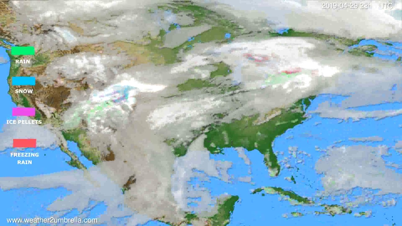Precipitation forecast USA & Canada // modelrun: 12h UTC 2019-04-27