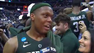 Final Four: Michigan State Coach Tom Izzo, Cassius Winston After Win Over Duke