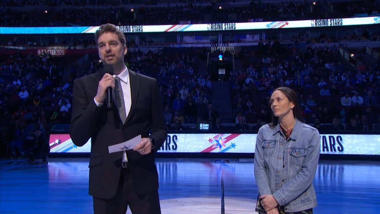 Pau Gasol and Sue Bird addressing the crowd to continue the David and Kobe tribute