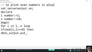 To Print Even numbers in PL/SQL    DBMS    MKSOFTECH