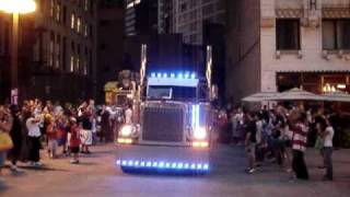 Transformers 3 Close Up of Optimus Prime in Chicago Driving By