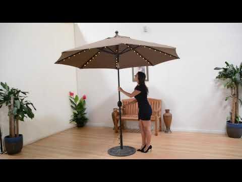 Galtech LED Light Auto Tilt Patio Market Umbrellas