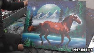 Running Horse SPRAY PAINT ART by Eden スプレーペイントアートエデン