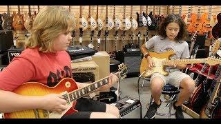 15-year-old Trey Wanvig & 12-year-old Xander Marsden playing the blues at Norman's Rare Gutiars