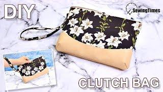 DIY CLUTCH PURSE BAG & WRISTLET | Zipper Pouch Tutorial And Pattern [sewingtimes]