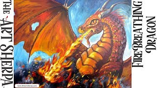 Learn to Paint Acrylic  | Fire Breathing Dragon | The Art Sherpa