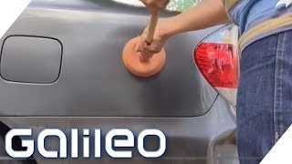 Auto-Delle mit Pömpel rausziehen: Geht das wirklich?   Galileo   ProSieben