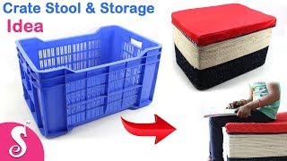 Plastic CRATE Idea   Best Out Of Waste Idea Of CRATES For DIY ROOM Decor   Sonali Creation #168