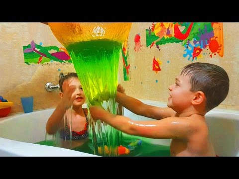 Slime Baff bath for kids. Funny challenge. Kids playing with toys.