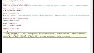 Query a database with python pyodbc and export the results to a csv file
