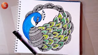 Peacock Zentangle Art / Mandala Peacock Drawing / Doodle Art Patterns /Zentangle Mandala Drawing