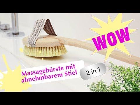 2 Bürsten in 1 – der ultimative Badespaß – Badebürste/Massagebürste mit abnehmbarem Stiel