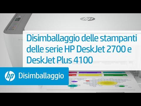 Disimballaggio delle stampanti delle serie HP DeskJet 2700 e DeskJet Plus 4100
