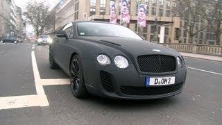 Matte black Bentley Continental SuperSports driving in Düsseldorf!
