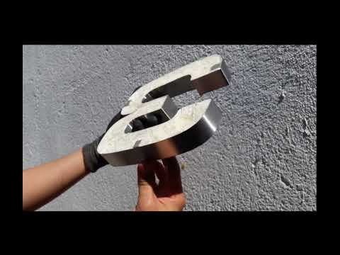 Numero pegado 3D Inox
