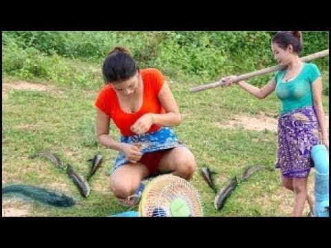 Beautiful Girl Fishing - Amazing Fishing at china - How To catch fish by hand -| fishing village 9
