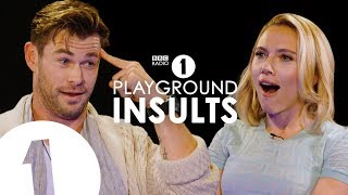 """You're ugly!"": Avengers: Endgame stars Chris Hemsworth and Scarlett Johansson take it in turns to INSULT EACH OTHER on BBC Radio 1's Playground Insults.   Who will win when two Hollywood superstars rip each other apart?  Listen to Scott Mills and Chris Stark on BBC Radio 1, Monday-Thursday, 1-4pm GMT or anytime on the BBC Sounds app.  -- Official Channel of BBC Radio 1  Here you can find your favourite live performances, the biggest movie stars, amazing interviews and more...   Still haven't subscribed to Radio 1 on YouTube? ►► https://goo.gl/QSjLSr   Follow us on socials:  https://en-gb.facebook.com/bbcradio1/ https://twitter.com/bbcr1 https://www.instagram.com/bbcradio1/  https://www.bbc.co.uk/radio1"