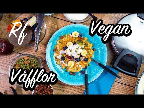 Grädda goda vegana våfflor utan ägg, smör eller mejeriprodukter.>