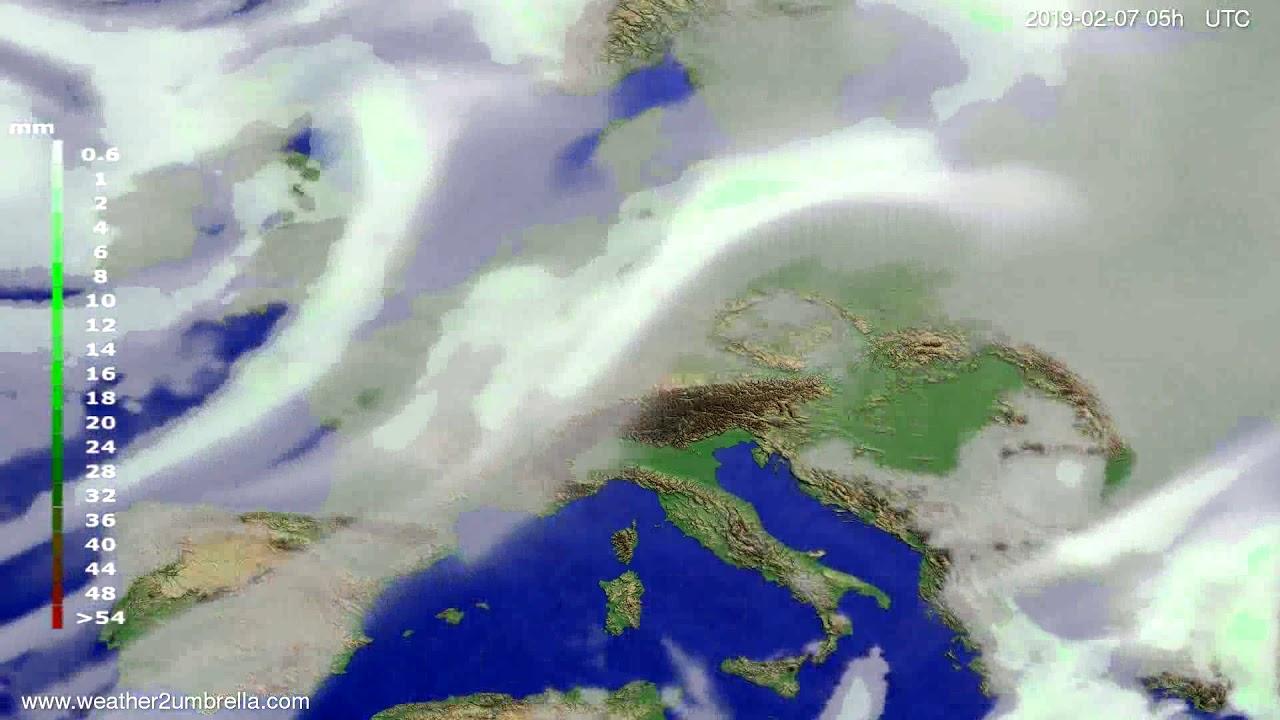 Precipitation forecast Europe 2019-02-05