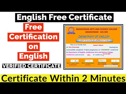 English Free Certification | Free Online Courses With Certificate ...