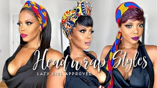 😍 YES! Quick & Easy Head Wrap/Turban Tutorial | 5 STYLES FOR PIXIE CUTS WIGS TWA & PROTECTIVE STYLE