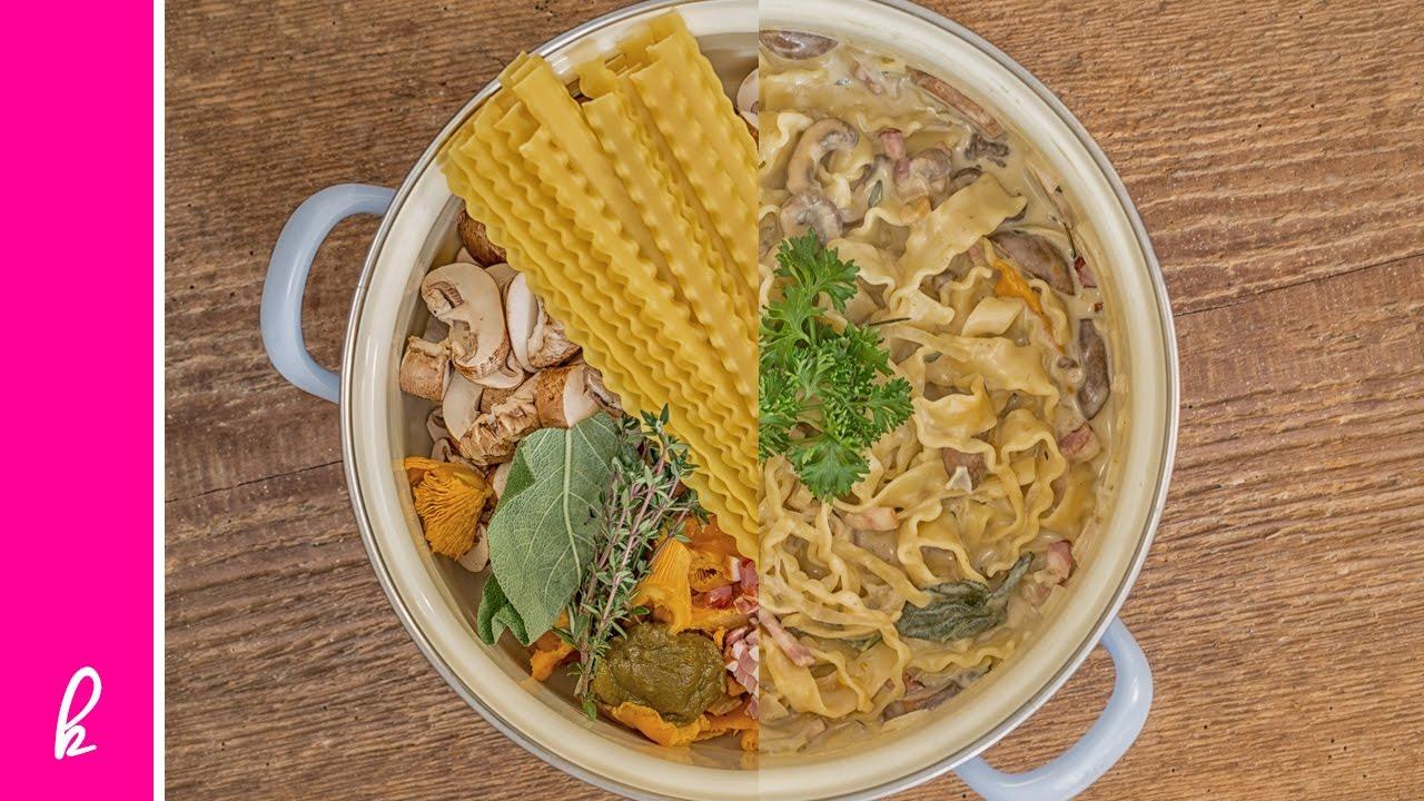 One Pot Pasta Week: Pilze & Speck mit Mafaldine