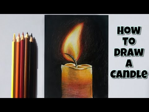 How To Draw A Candle   Colored Pencil Drawing For Beginners