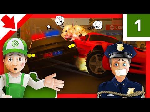Policias dibujos animados. Policias animados en español. Coche de policía infantil Autos de carreras
