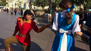 Gaston won't stop bugging Belle and Beast // Disneyland
