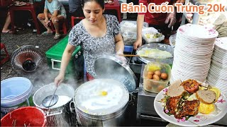 Xem Chị Gái tráng bánh cuốn nhanh như điện hơn 10 năm ở Sài Gòn   Saigon food