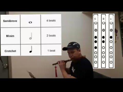 Dizi Bamboo Flute key of C - Lesson 1 -Introduction (Notes C,D,E)