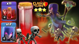 Th11 Epic Attack   17 Witches + 11 Skeleton Spell   So Op! Strategy Clash Of Clans