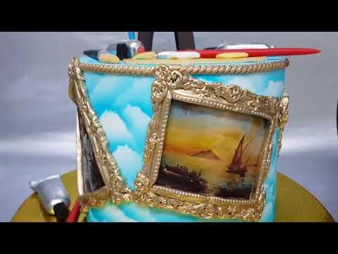 Интересная идея торта для художника