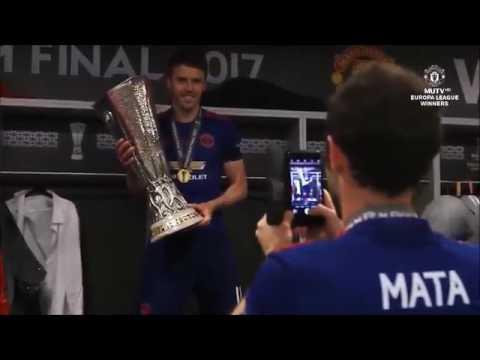 United Dressing room celebration 2017 Europa League Winner