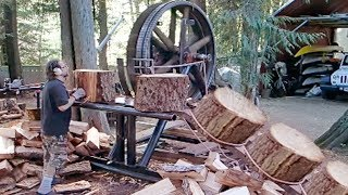 10 Dangerous Homemade Automatic Firewood Processing Machine, Wood Cutting Machine Splitting Firewood