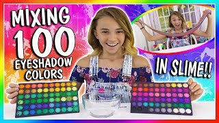 MIXING 100 EYESHADOW COLORS IN CLEAR SLIME  We Are The Davises