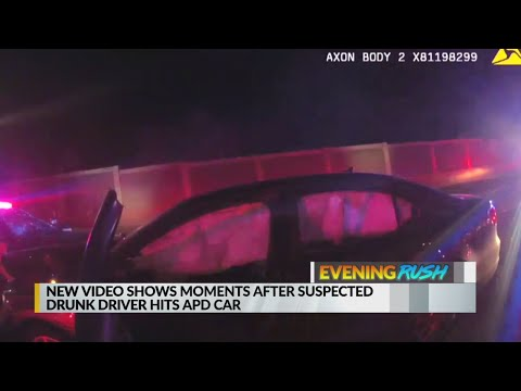 June 19 Evening Rush: Video shows scene after a suspected drunk driver hit police car