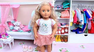 AG Doll Bedroom With Pink Bed & Wardrobe Closet With Fancy Clothes!