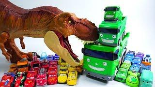Learn Colors Disney Cars Vehicle Dump Truck Carrier Dinosaur Car Toys GUGU COLOR Kids