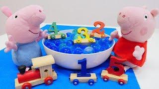 Zahlen lernen mit Peppa Wutz Spielzeug.  Spaß mit Puppen