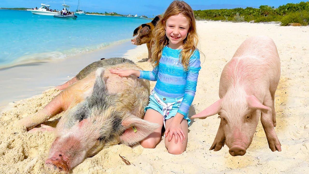 Настя - поездка на свиней остров. Nastya and her Family trip to the pig island
