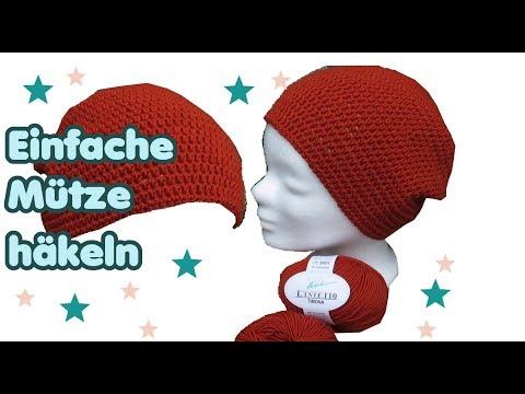 Einfache Mütze häkeln für Anfänger, mit dünner Wolle!