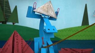 Бумажки ✂ Полная луна ✂  Серия 56. Мультик оригами для начинающих.  Творчество с детьми.
