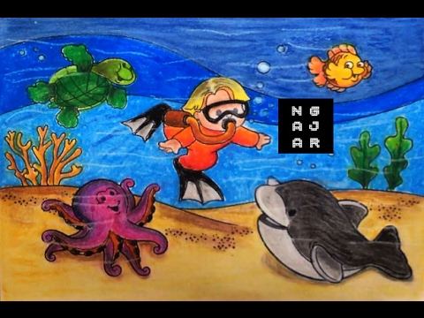 Cara Mewarnai Hewan Laut Gurita Ikan Lumba Lumba Kura Anak Tk