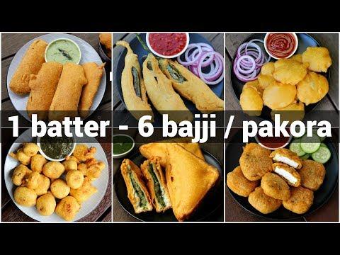 , title : '1 batter 6 bajji or pakora recipes | 6 पकौड़ा रेसिपी | bajji or pakoda recipes collection
