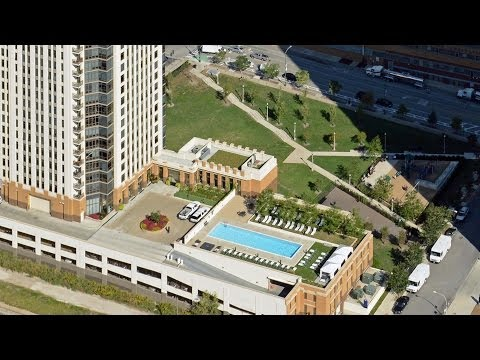 The outdoor living scene at Echelon at K Station Apartments