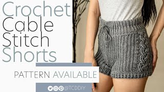 Crochet High Waisted Cable Stitch Shorts | Pattern & Tutorial DIY